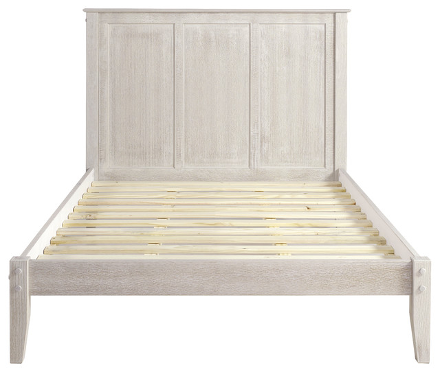 Atticus Panel Platform Bed, Weathered White, Full.