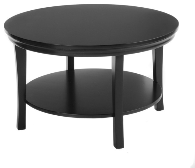 30 Round Coffee Table With Lower Shelf Black