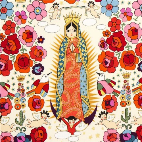 beige Mexican Virgin Mary statue fabric by Alexander Henry