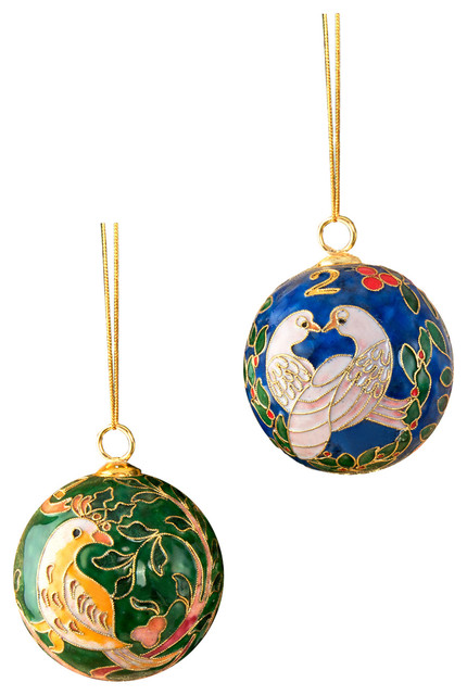 cloisonne 12 days of christmas ornament set