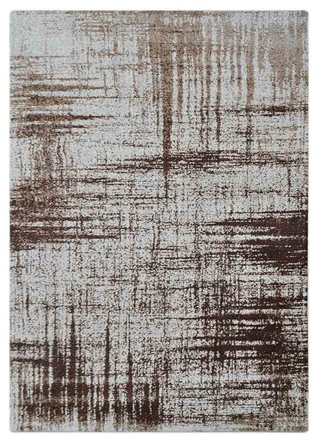 Machine Woven Contemporary Rug By Rugsotic Carpets, Beige, 6&x27;x9&x27;.
