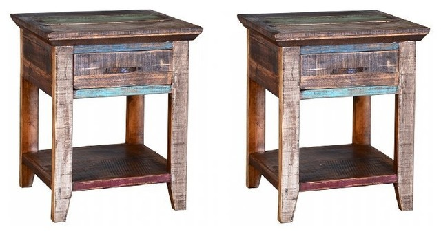 Multicolor Cabana Nightstand Farmhouse Nightstands And Bedside