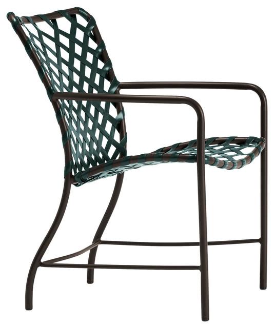 Vinyl Furniture Outdoor: Tamiami Arm Chair, Vinyl Lace, Mica Strap, White Lite