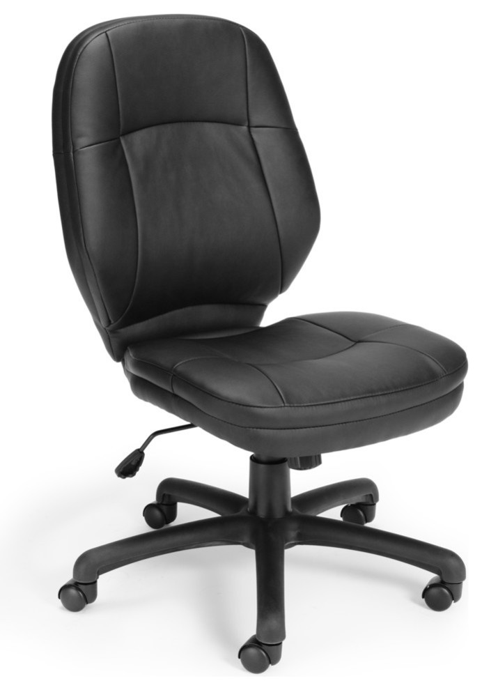 Leather Swivel Armless Office Chair