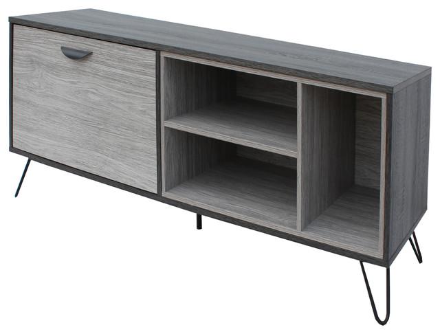 Vivian Mid Century Modern Two Toned Gray Oak Finished Faux Wood Tv