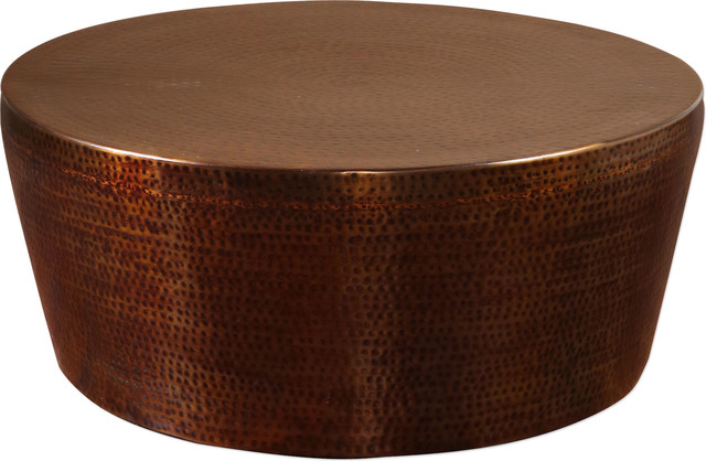Beau Hania Hammered Rustic Bronze Coffee Table   Traditional   Coffee Tables    By HedgeApple