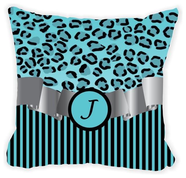 Letter Quot J Quot Blue Leopard Stripes Monogram Microfiber Throw