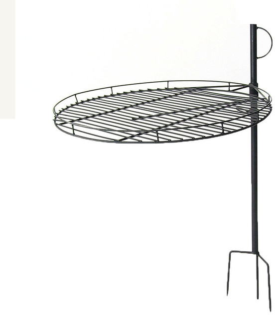 "Sunnydaze Height Adjustable Fire Pit Cooking Grate, 24"" Diameter."