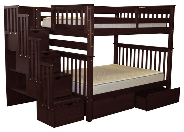 Bedz King Bunk Beds Full Over Full Stairway, 4 Step, 2 Bed Drawers, Cappuccino.