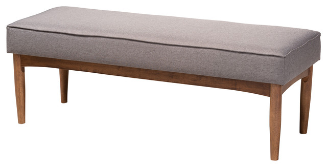 Superbe Marleen Mid Century Modern Gray Fabric Wood Dining Bench   Midcentury   Dining  Benches   By Baxton Studio