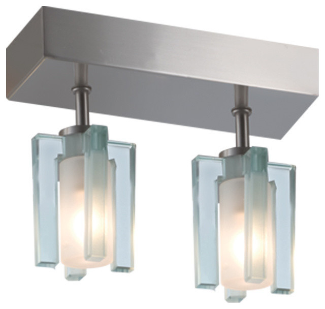 Akina 2-Light Ceiling Mount, Satin Nickel/clear-Frosted.