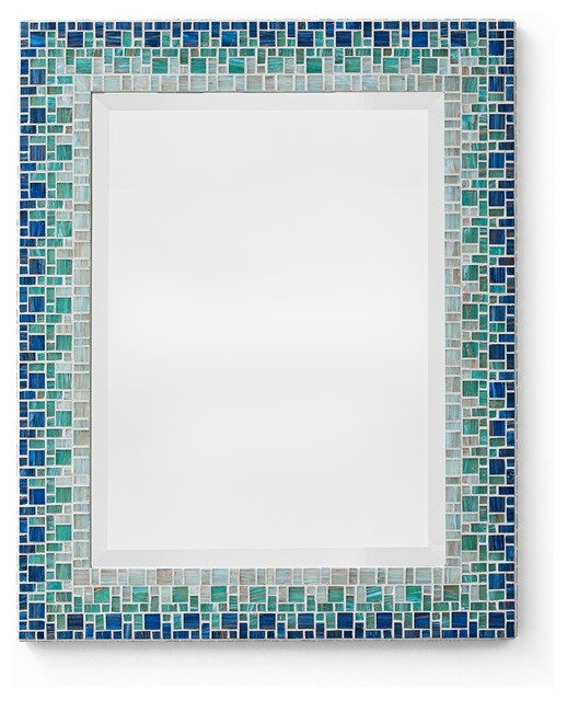Gorgeous Mosaic Bathroom Mirror On Blue Mosaic Mirror From Green Street  Mosaics Custom Made In The