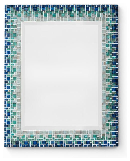 Mosaic mirror ocean blue teal handmade beach style for Teal framed mirror