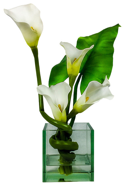 Calla Lily In 5 Cube Vase Contemporary Artificial Flower