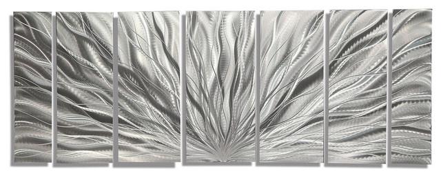 """silver Plumage"" 7-Piece Metal Wall Art Set, 68""x24""x2"". -1"