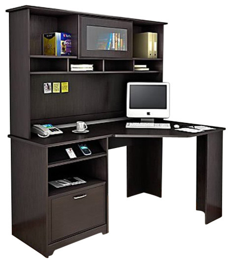bush cabot corner computer desk with hutch in espresso oak desksand