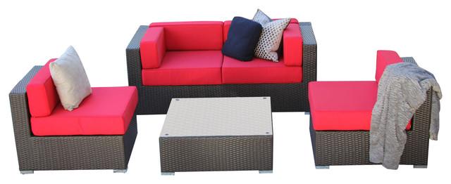 Admirable 5 Piece Rattan Wicker All Weather Patio Sectional Sofa Set Jock Red Creativecarmelina Interior Chair Design Creativecarmelinacom