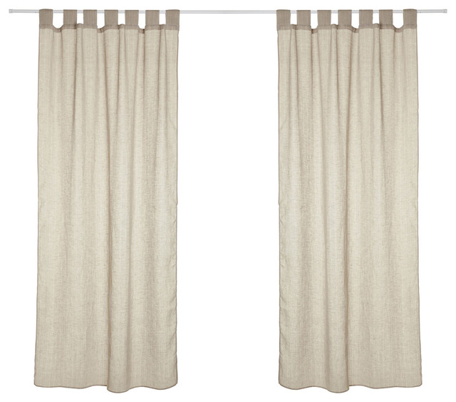 Hilary Linen Curtains With Vertical Stripes, Natural And Off-White.