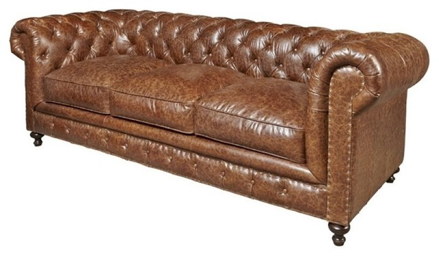 Beaumont Lane Leather Sofa, Brown.