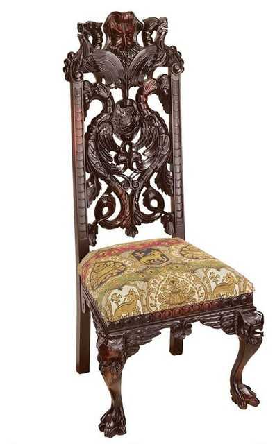 Hand Carved Solid Gany Antique Replica Manor Chair