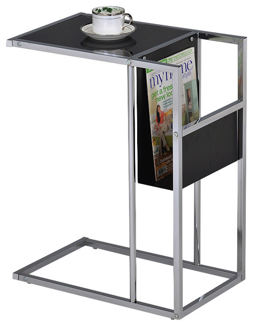 Printed Glass And Chrome Accent Table With Magazine Rack, Black  Contemporary Magazine Racks