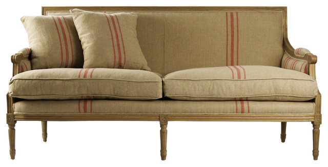 St Germain French Style Red Stripe Linen Louis Xvi Sofa