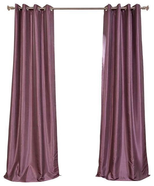 Smokey Plum Grommet Blackout Vintage Faux Silk Dupioni Curtain Single Panel Contemporary