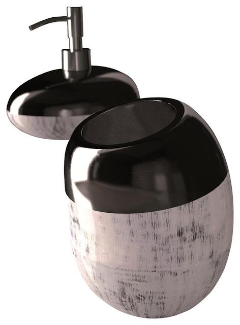 surprising black silver bathroom accessories | Glamour Bathroom Accessory Set Black Silver - Modern ...