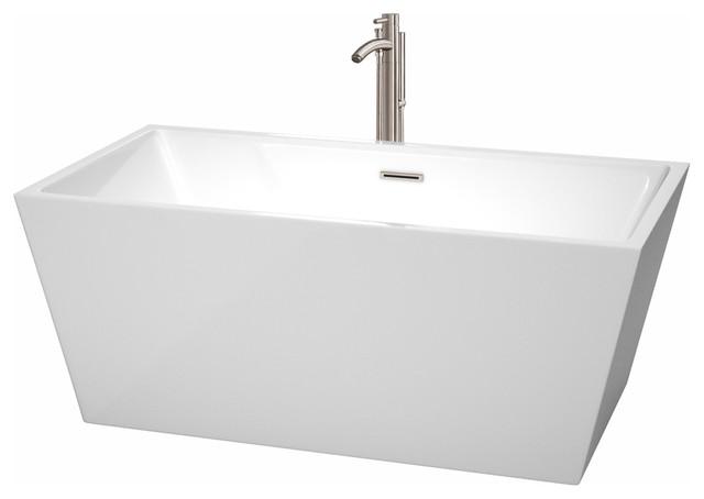 "Freestanding Bathtub, Drain, Overflow Trim, Brushed Nickel Faucet, White, 59""."