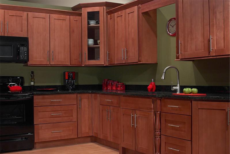 Beautiful 10 Foot Run natural cherry craftsman cabinets ...