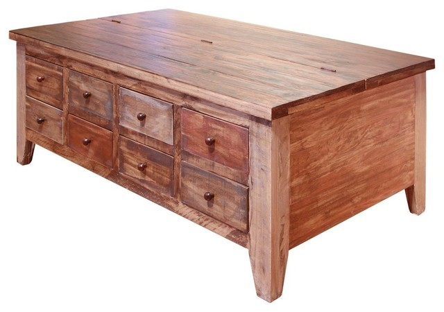 Bays 8 Drawer Lift Top Coffee Table