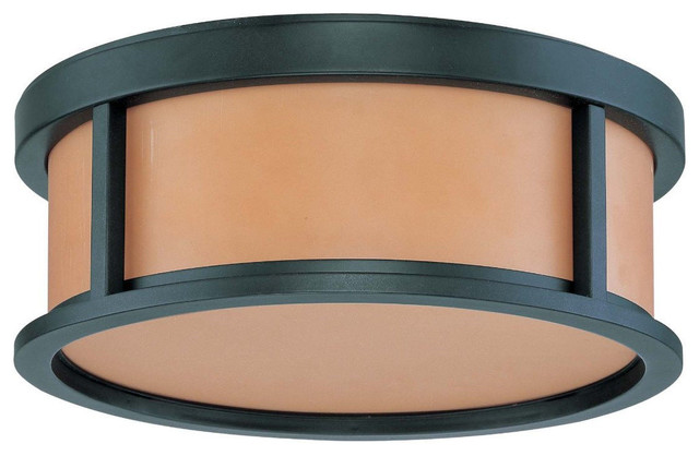 Aged Bronze Energy Star Flush Ceiling Light With Parchment Glass 13