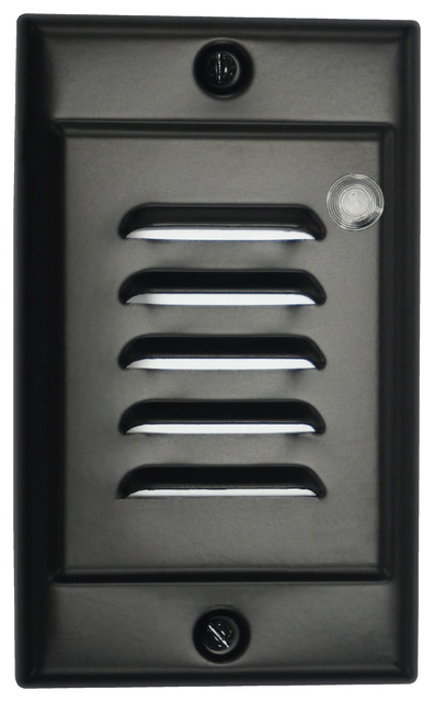 Nicor Led Step Light With Photocell And Horizontal Vertical Faceplates Blac