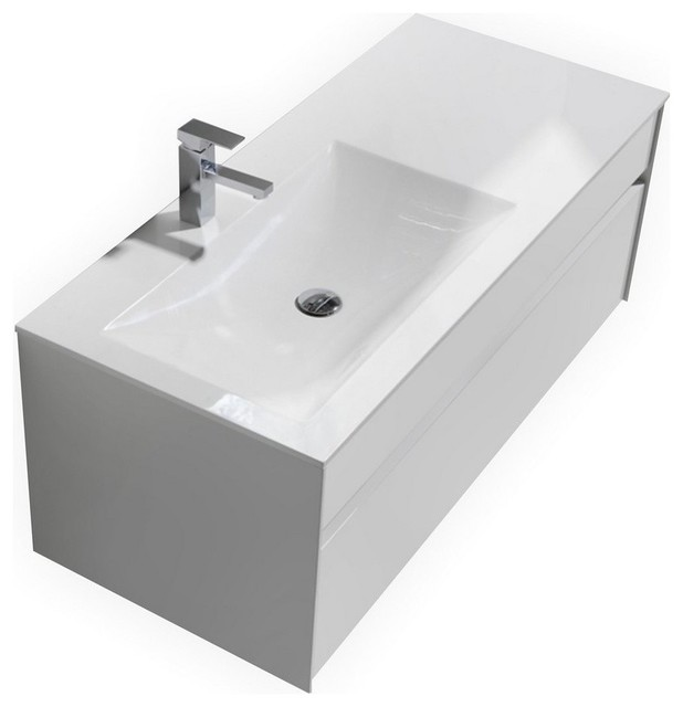 O 48 Gloss White Wall Mount Modern Bathroom Vanity Single Sink Contemporary Vanities And Consoles By Kolibri Decor