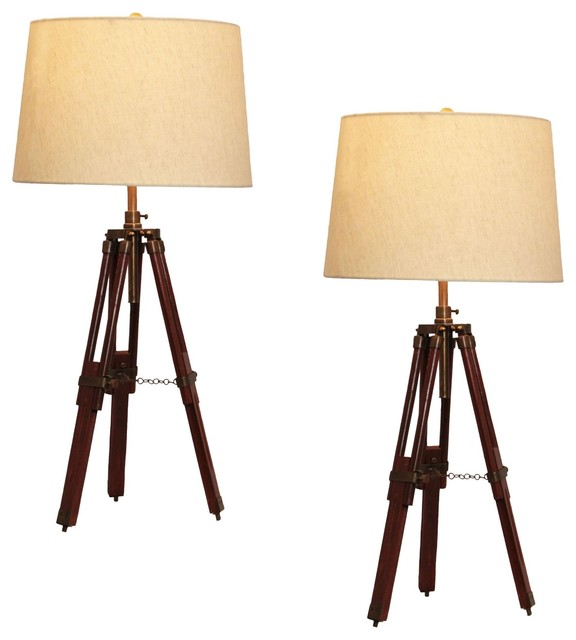 urban designs surveyor tripod table lamp set of 2