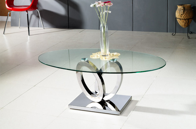 MODERN CLEAR GLASS AND CHROME OVAL COFFEE TABLE BARI
