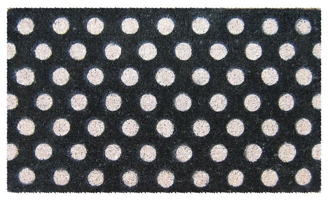 White Polka Dots Hand Woven Coconut Fiber Doormat.