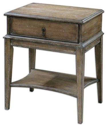Tuscan Spanish Style Side End Accent Table Weathered
