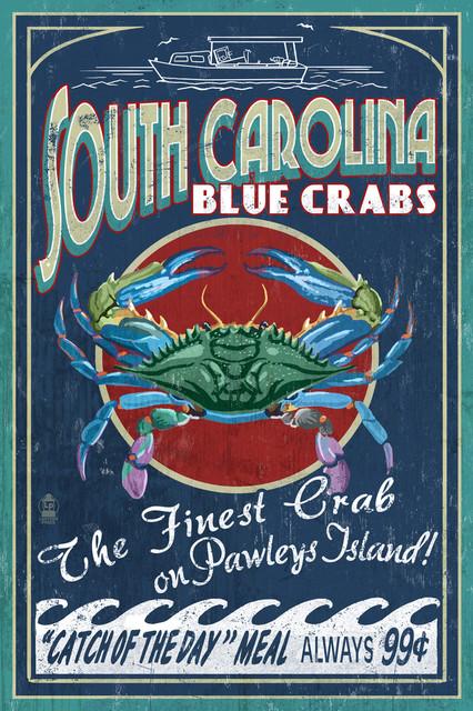 Quot Pawleys Island South Carolina Blue Crabs Vintage Sign