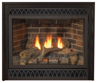 Deluxe 32 Direct Vent Natural Gas Millivolt Fireplace With Blower Modern Indoor Fireplaces