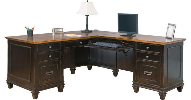 Hartford 2 Toned Rustic L Desk Traditional Desks And