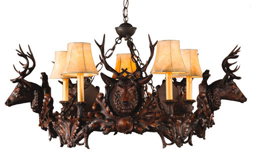 5 Small Stag Head Chandelier