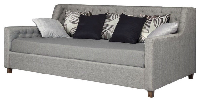 Twin Size Gray Linen Upholstered Day Bed With Tufted Detailing And Wood Legs.