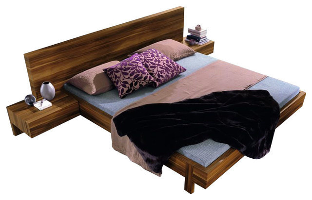Rossetto Gap Bed, Night Stands And Headboard Pillows, Queen Modern