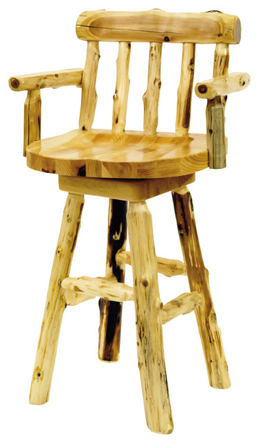 Cedar Log Counter Stool With Arms 24 Quot Seat Height