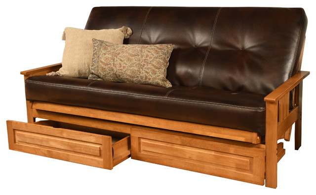 timeless design 59f79 694c9 Caleb Frame Futon With Butternut Finish, Storage Drawers, Cappuccino