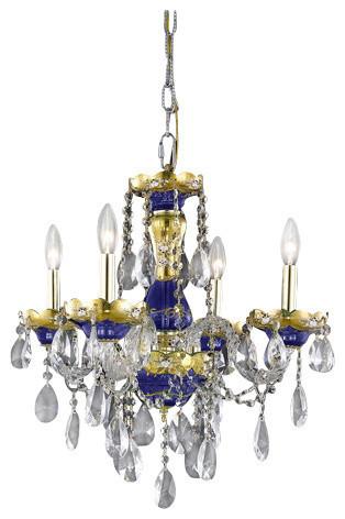 Elegant Lighting 7810D19BE Alexandria 4-Light 1 Tier Crystal Chandelier, Blue