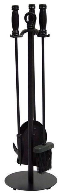 Uniflame 4 Piece Black Wrought Iron Fire Set.