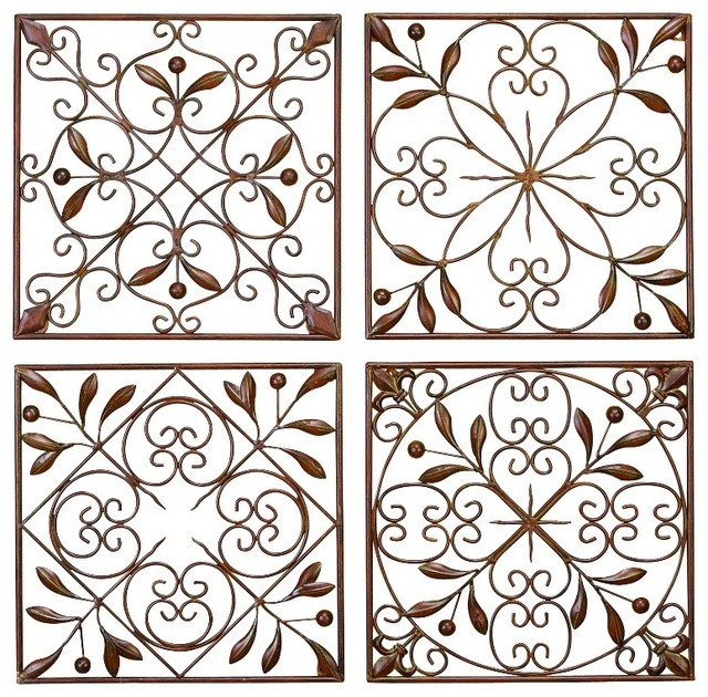Superbe Set Of 4 Square Brown Metal Wall Plaques Leaf Branches Scroll Work Decor  50035 Mediterranean