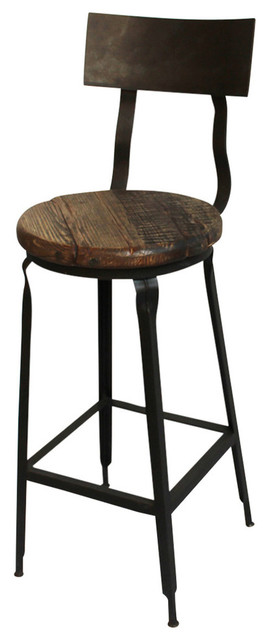 Reclaimed Wood And Iron Barstool Industrial Bar Stools